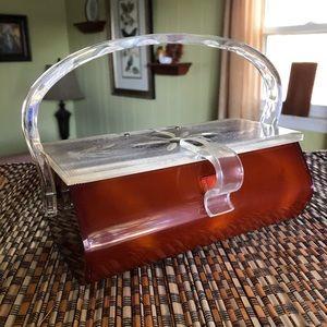 Vintage 40's/50's Lucite tortoise shell purse.